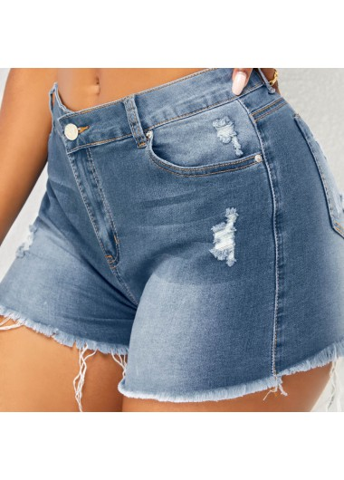 Modlily Mid Waist Tassel Detail Shredded Shorts - L