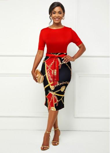 Modlily Chain Print Short Sleeve Bowknot Bodycon Dress - XL