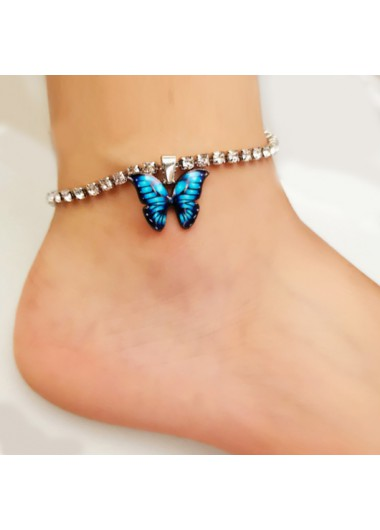 Modlily Butterfly Detail Rhinestone Design Silver Anklet - One Size