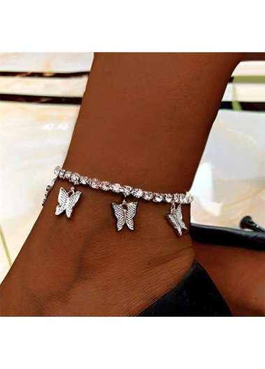 Modlily Silver Butterfly Design Rhinestone Detail Anklet - One Size