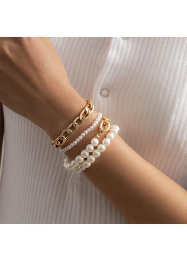 Modlily Pearl Design Metal Detail Chain Bracelets - One Size