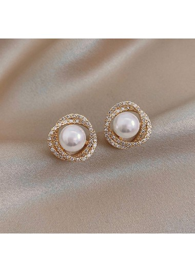 Modlily Pearl Detail Rhinestone Design Metal Earring Set - One Size