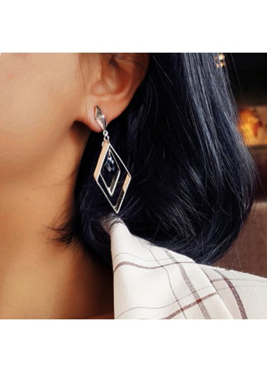 Modlily Rhombic Design Silver Metal Detail Earring Set - One Size