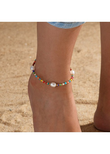Modlily Pearl Design Multi Color Beads Detail Anklet - One Size