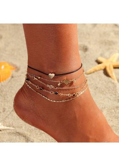 Modlily Heart Design Gold Metal Detail Anklets - One Size