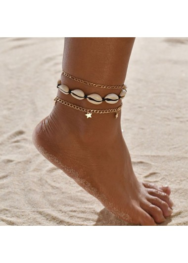 Modlily Metal Detail Conch and Star Design Anklets - One Size