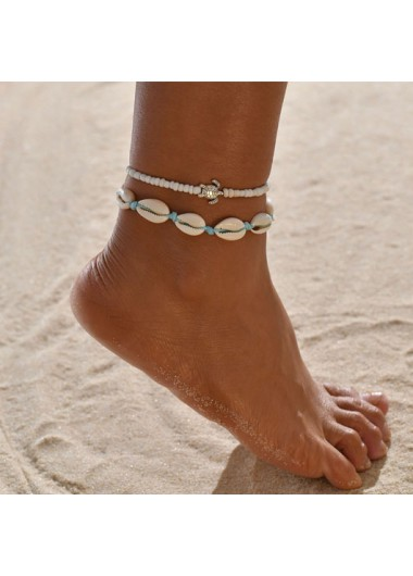 Modlily Shell Design Beads Metal Detail Anklets - One Size