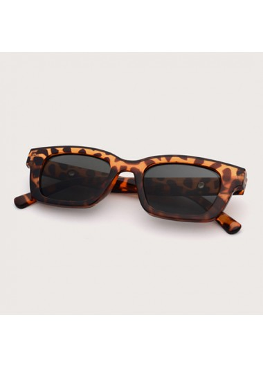 Modlily 1 Pair Leopard Rectangle Frame TR Sunglasses - One Size