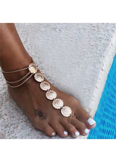 Modlily Gold Metal Detail Layered Design Anklet - One Size