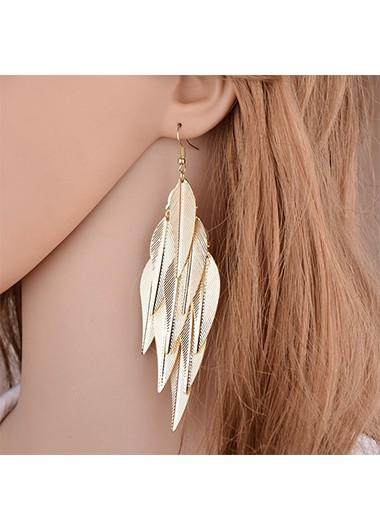 Modlily Leaf Design Baroque Design Gold Earring Set - One Size