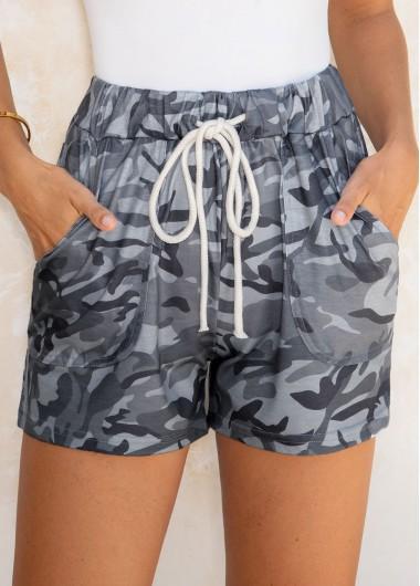 Modlily Camouflage Print Drawstring Waist Pocket Shorts - S