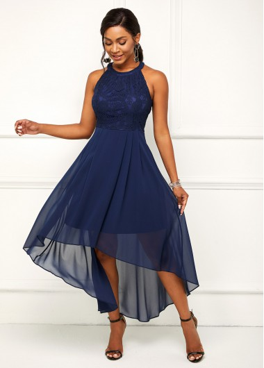 Modlily Bib Neck Asymmetric Hem Lace Stitching Dress - XXL
