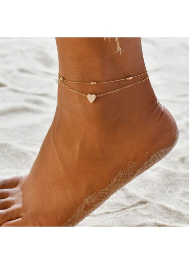 Modlily Layered Metal Detail Gold Heart Design Anklet - One Size