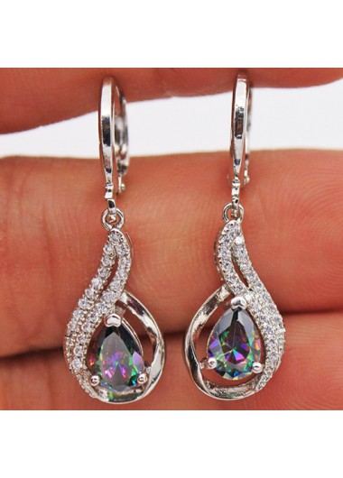 Modlily Rhinestone Silver Water Drop Detail Earring Set - One Size