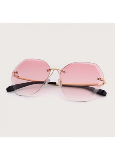 Modlily 1 Pair Metal Detail Rimless Pink Sunglasses - One Size