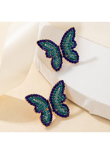 Modlily Butterfly Design Rhinestone Detail Metal Earring Set - One Size