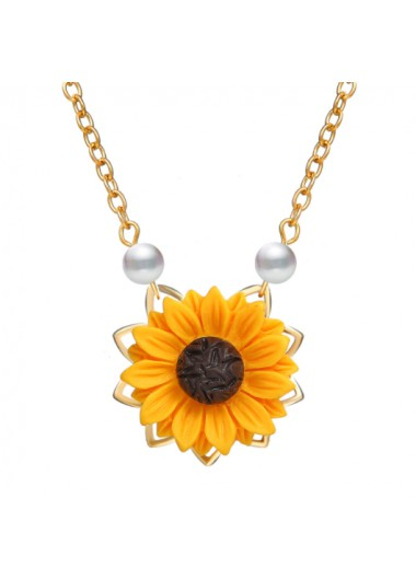Modlily Sunflower Design Pearl Detail Metal Necklace - One Size