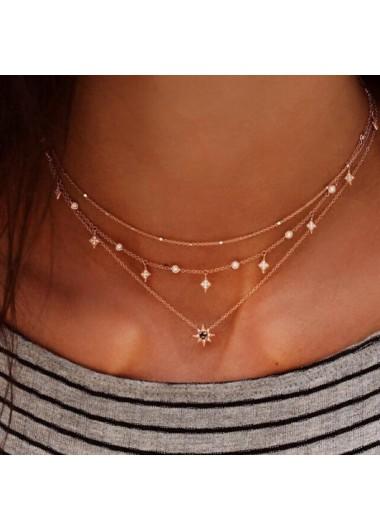 Modlily Rhinestone Detail Hexagram Design Layered Necklace - One Size