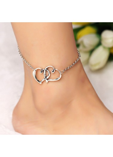 Modlily Silver Metal Detail Double Heart Design Anklet - One Size
