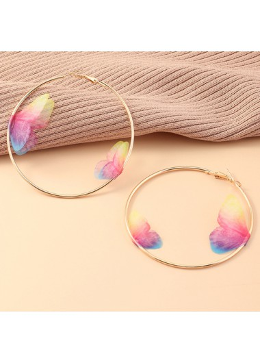 Modlily Butterfly Design Metal Ring Detail Earring Set - One Size