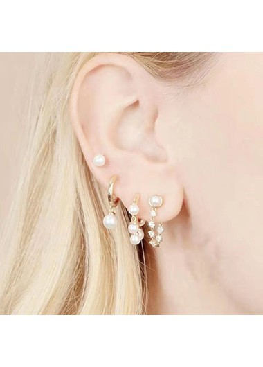 Modlily Metal Detail Pearl Design Earring Set for Women - One Size