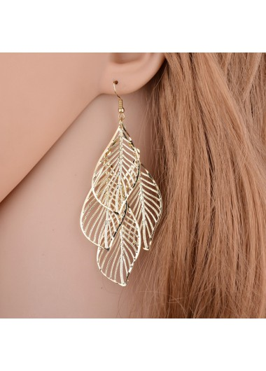 Modlily Leaf Design Gold Metal Detail Earring Set - One Size