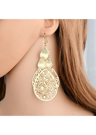 Modlily Water Drop Design Gold Metal Detail Earring Set - One Size