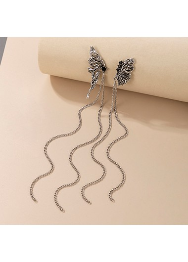 Modlily Butterfly Design Metal Detail Earring Set - One Size