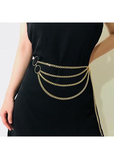 Modlily Gold Metal Detail Layered Design Belt - One Size