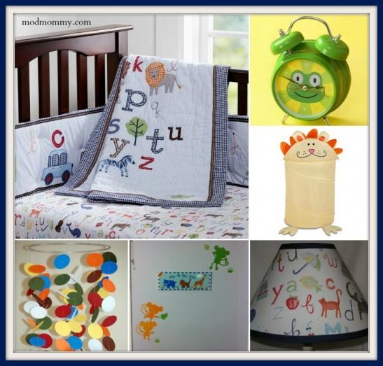 Baby boy's animal alphabet nursery