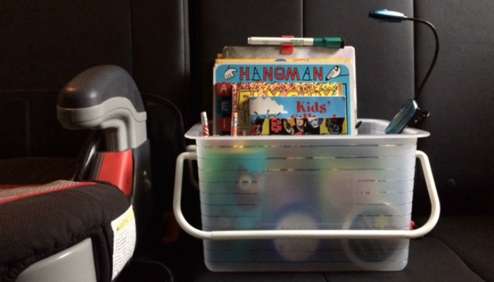 A 'Busy Box' is your child's entertainment in a small box. Keep it in your car and it will keep your kids entertained while on-the-go. The activities inside the box are portable, so they can come along while dining at restaurants, appointments, in the shopping cart, road trips and more!