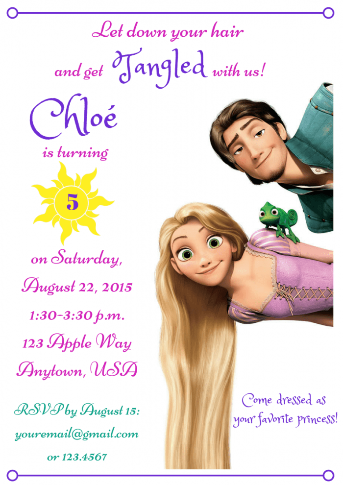 Tangled Birthday Invitation | Princess Birthday Party on a Budget: 5 Ways to Save Money
