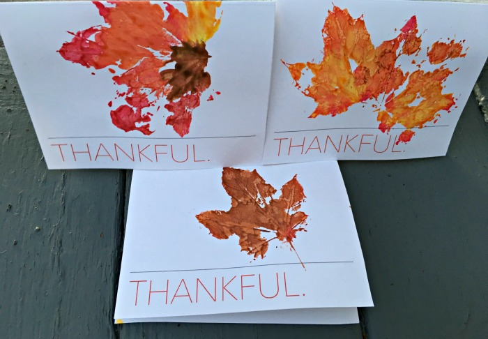 Leaf Printing Thanksgiving Cards