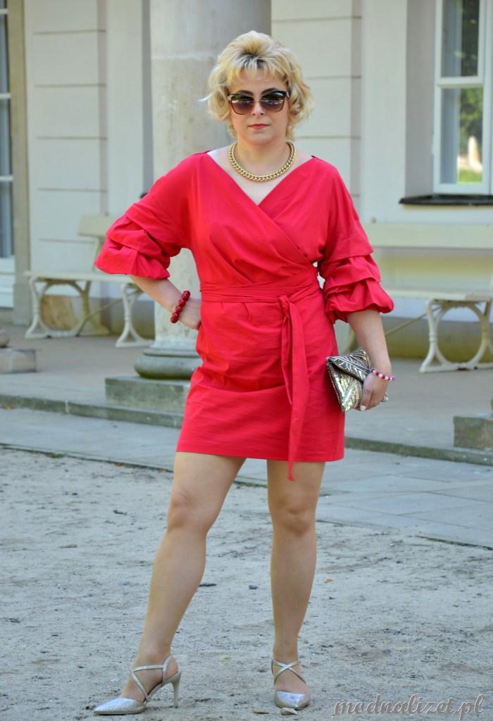 Seksowny malinowy kolor sukienki mini