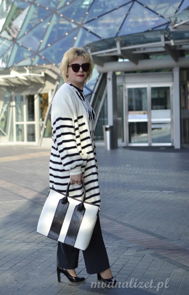 Długi sweter rozpinany