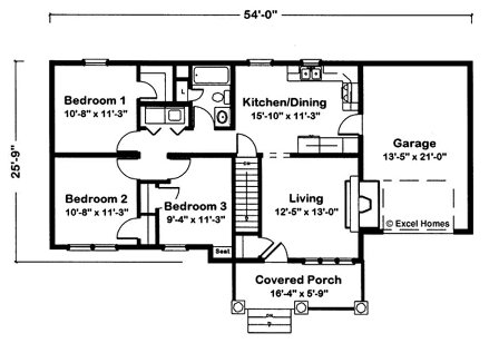 Excel Modular Homes Independence Ranch Description This Floor Plan Features A Beautiful 1 Story 3 Bedroom Home With Garage And Covered Porch