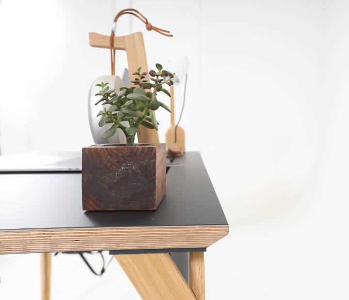 Bočni pogled na crni radni stol Conform Desk sa cvijetom i držačem slušalica na površini
