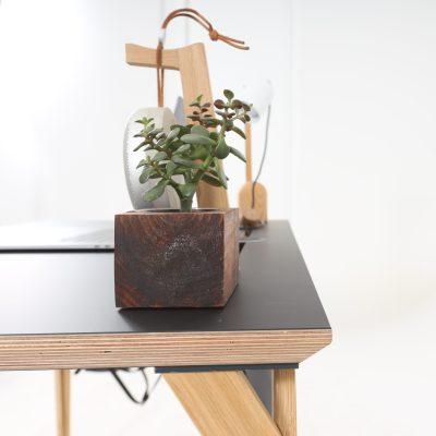 Pogled s boka na površinu radnog stola Conform Desk na kojoj se nalazi cvijet i stalak za slušalice