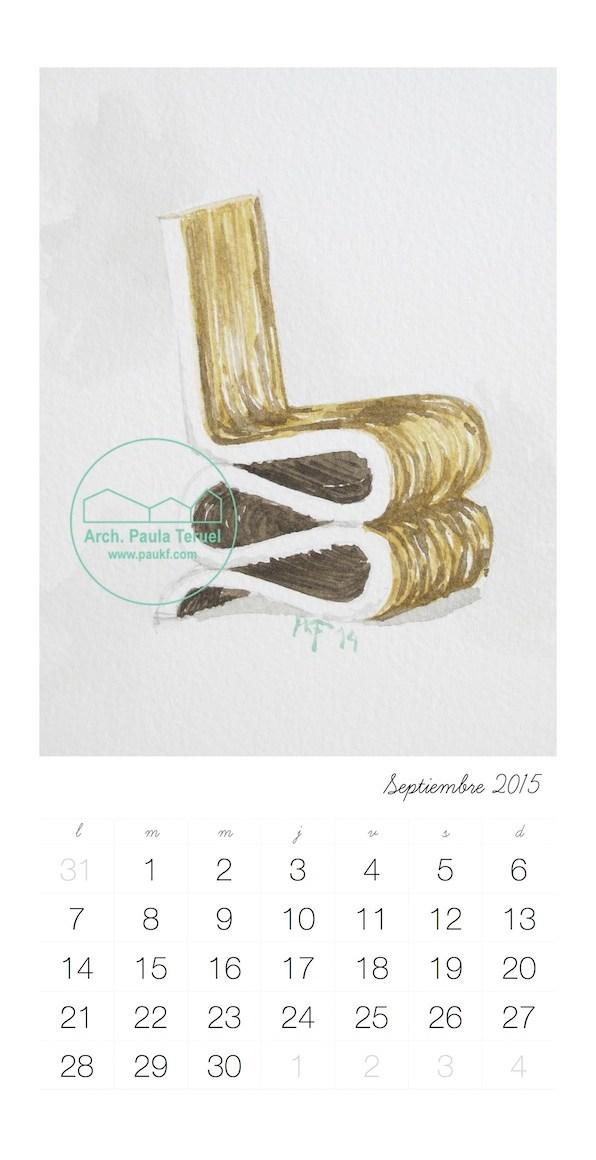 Acuarela de la silla Wiggle de Gehry por Paukf para Modus Vivendi Arquitectos. Calendario Septiembre September Calendar Gehry Wiggle Chair Watercolor by Paukf for Modus Vivendi Architecture