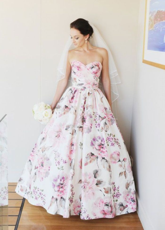 Printed Wedding Dress with Intricate Design