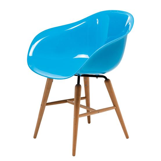 Armlehnenstuhl Forum Wood (4er-Set) - Kunststoff/Buche massiv - Blau