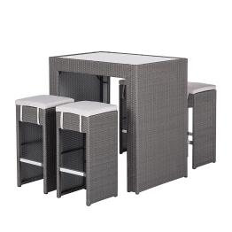 Gartenbar-Set Paradise Lounge (5-teilig) - Polyrattan Grau