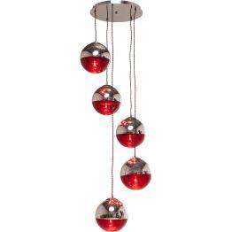 Lampe:Futuristisch puristisch Eine Hängeleuchte mit 5 Kugelschirmen