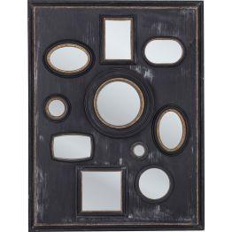 Spiegel: Classic with a twist Dieser Wandschmuck mit 10 Spiegelflächen und klassisch anmutendem Rahmen-Designs ist Spiegel und Kunstwerk in einem. Edle Farbgestaltung in Schwarz-Gold und das antik anmutende Finish sorgen für lässige Eleganz. Der Spiegel ist horizontal und vertikal hängbar.