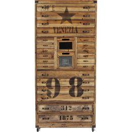 Kommode: Die Kommode aus Holz hat 24 Schubladen unterschiedlicher Größe. Das aufregende Design mit Schriftzug