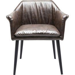 Stuhl: Dinieren mit Stil Ob im Loungebereich oder zum Esstisch: Dank seiner Armlehnen bietet der Stuhl Diner bei jeder Gelegenheit bemerkenswerte Vorzüge. Ausgestattet mit einer exklusiven Polsterung im Lederlook schimmert er seidig im Licht und offeriert einen Sitzplatz voller Komfort. Als Kontrast zu Sitzkissen und Lehnen zeigen sich die Beine passend kontrovers bezüglich Farbe und Material. Im Gesamteindruck entsteht dadurch eine stilvolle Kombination