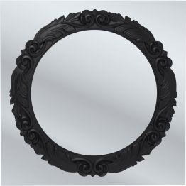 Spiegel: Opulente Dekoration Ein exklusiver Wandspiegel mit symmetrischer Rahmengestaltung in einem tiefen Schwarz. Dieser umrandet die Spiegelfläche gekonnt. Kunstvolle Details treffen dabei auf moderne Finesse und machen den Spiegel zu etwas ganz besonderen.