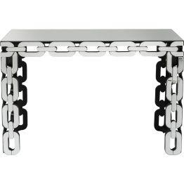 Konsole: Fesselnde Konsole Eine originelle Luxus-Konsole aus unserer Serie Chain. Die Beine bestehen aus massiv geformten Kettengliedern. Ihre Oberflächen und die Deckplatte sind jeweils mit Spiegelglas verkleidet und sorgen für spannende Reflexionen.