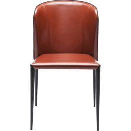 Stuhl: Leder-Look Mit einem Bezug in Hochglanz beschichteter Leder-Optik erregt der Stuhl gekonnt Aufmerksamkeit. Sein Design wird zudem von spitz zulaufenden Beinen sowie der dynamisch geformten Rückenlehne apart in Szene gesetzt.