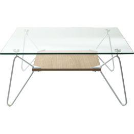 Tisch: Schwebende Leichtigkeit Das klare Glas zusammen mit der edlen Holzoptik des Stegs und den schräg abfallenden hellen Tischbeinen zeugt von moderner Eleganz. Dadurch ist dieser Couchtisch der Serie Slope vielseitig einsetzbar.
